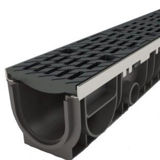 Водосток 10 см с пластиковой решеткой и крепежом в сборе